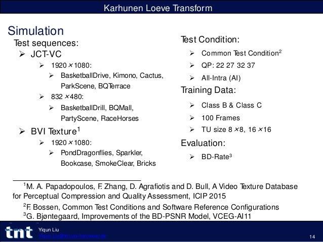 Karhunen Loeve Transform Simulation Test sequences:  JCT-VC  1920×1080:  BasketballDrive, Kimono, Cactus, ParkScene, BQ...
