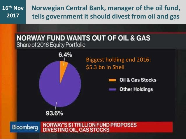 7th Jan 2016 16th Nov 2017 Norwegian Central Bank, manager of the oil fund, tells government it should divest from oil and...