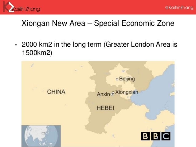 Xiongan New Area – Special Economic Zone • 2000 km2 in the long term (Greater London Area is 1500km2)