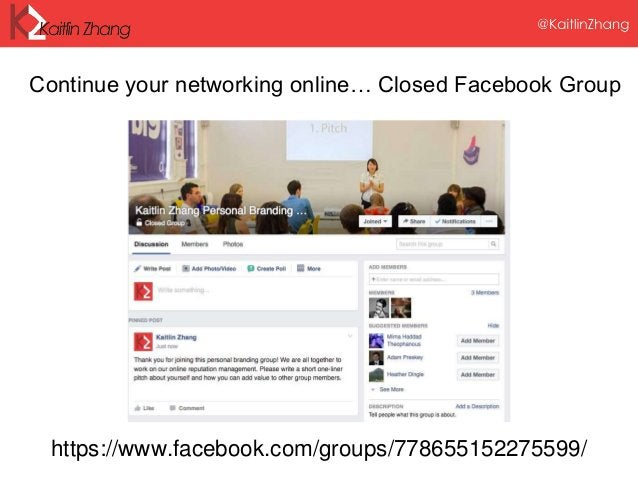 https://www.facebook.com/groups/778655152275599/ Continue your networking online… Closed Facebook Group