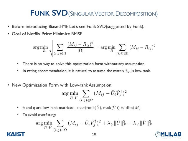 FUNK SVD(SINGULAR VECTOR DECOMPOSITION) • Before introducing Biased-MF, Let's see Funk SVD(suggested by Funk). • Goal of N...
