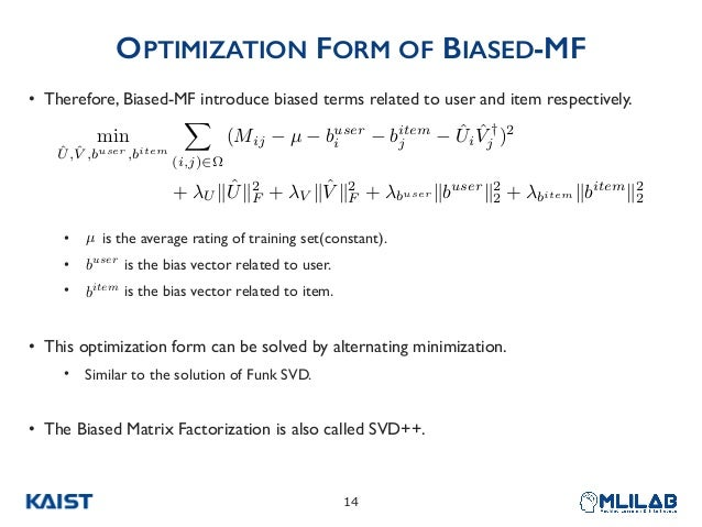 OPTIMIZATION FORM OF BIASED-MF • Therefore, Biased-MF introduce biased terms related to user and item respectively. • is t...