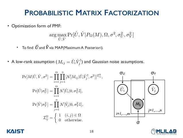 PROBABILISTIC MATRIX FACTORIZATION • Optimization form of PMF: • To find and via MAP(Maximum A Posteriori). • A low-rank a...