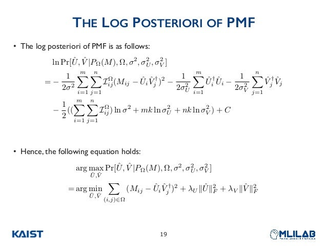 THE LOG POSTERIORI OF PMF • The log posteriori of PMF is as follows: • Hence, the following equation holds: !19 arg max ˆU...