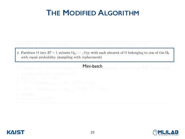 THE MODIFIED ALGORITHM !25 Mini-batch