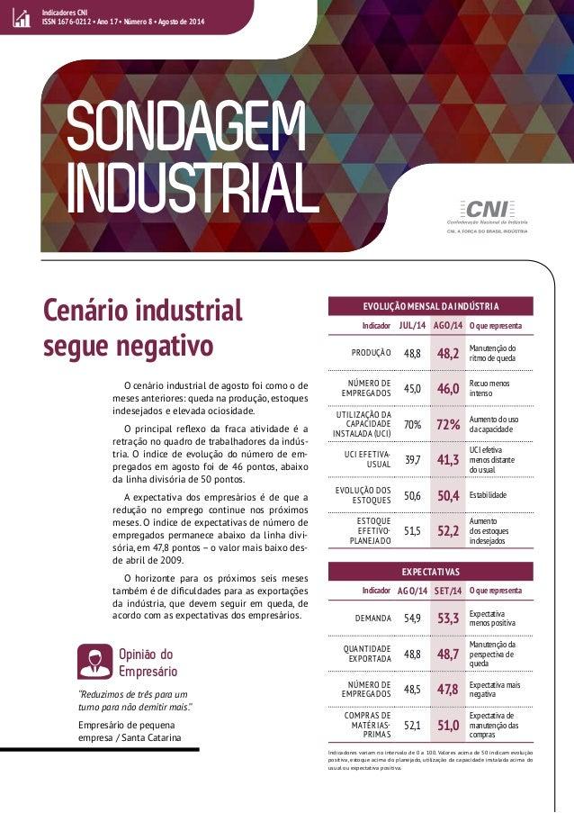 Indicadores CNI  ISSN 1676-0212 • Ano 17 • Número 8 • Agosto de 2014  SONDAGEM  INDUSTRIAL  1  EVOLUÇÃO MENSAL DA INDÚSTRI...