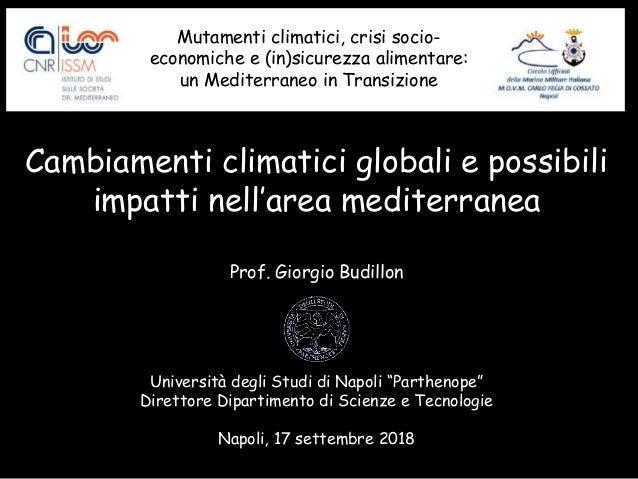 Cambiamenti climatici globali e possibili impatti nell'area mediterranea Prof. Giorgio Budillon Università degli Studi di ...
