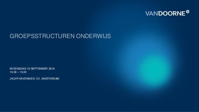 GROEPSSTRUCTUREN ONDERWIJS WOENSDAG 19 SEPTEMBER 2018 10.00 – 13.00 JACHTHAVENWEG 121, AMSTERDAM