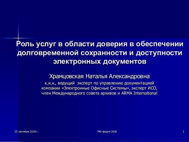 Роль услуг в области доверия в обеспечении долговременной сохранности и доступности электронных документов Храмцовская Нат...