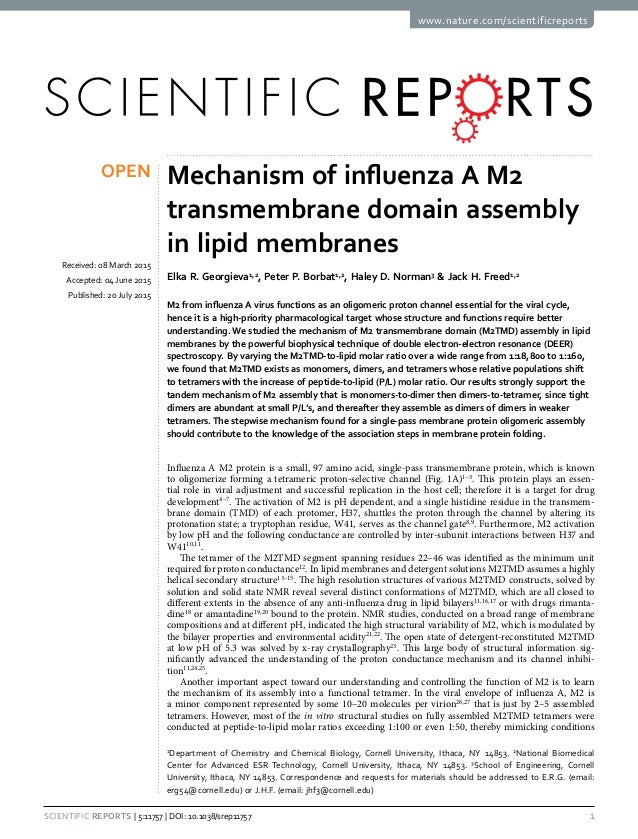 1Scientific Reports | 5:11757 | DOI: 10.1038/srep11757 www.nature.com/scientificreports Mechanism of influenza A M2 transm...