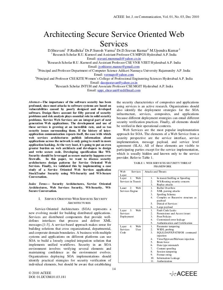 ACEEE Int. J. on Communication, Vol. 01, No. 03, Dec 2010            Architecting Secure Service Oriented Web             ...