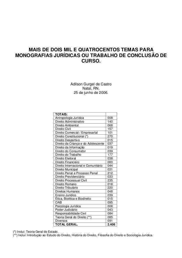 MAIS DE DOIS MIL E QUATROCENTOS TEMAS PARA MONOGRAFIAS JURÍDICAS OU TRABALHO DE CONCLUSÃO DE                         CURSO...
