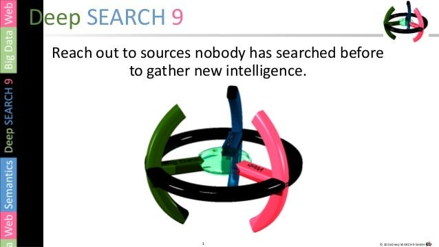 1 © 2016 Deep SEARCH 9 GmbH1 Deep SEARCH 9 Reach out to sources nobody has searched before to gather new intelligence.