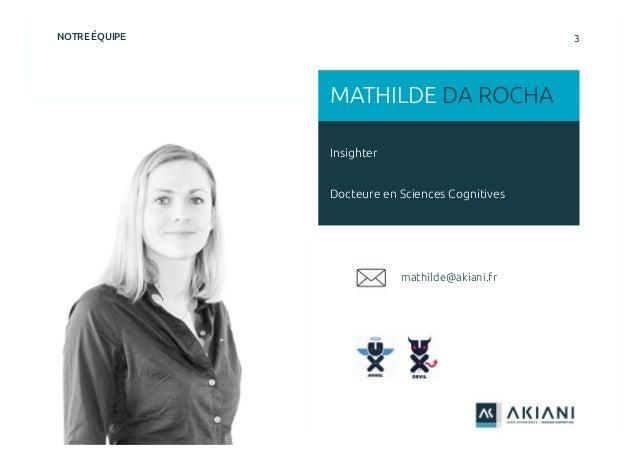 3NOTRE ÉQUIPE Insighter Docteure en Sciences Cognitives MATHILDE DA ROCHA mathilde@akiani.fr