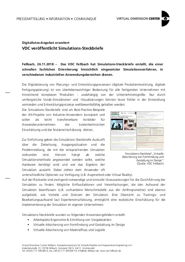 PRESSEMITTEILUNG • INFORMATION • COMMUNIQUÉ Virtual Dimension Center Fellbach, Kompetenzzentrum für Virtuelle Realität und...