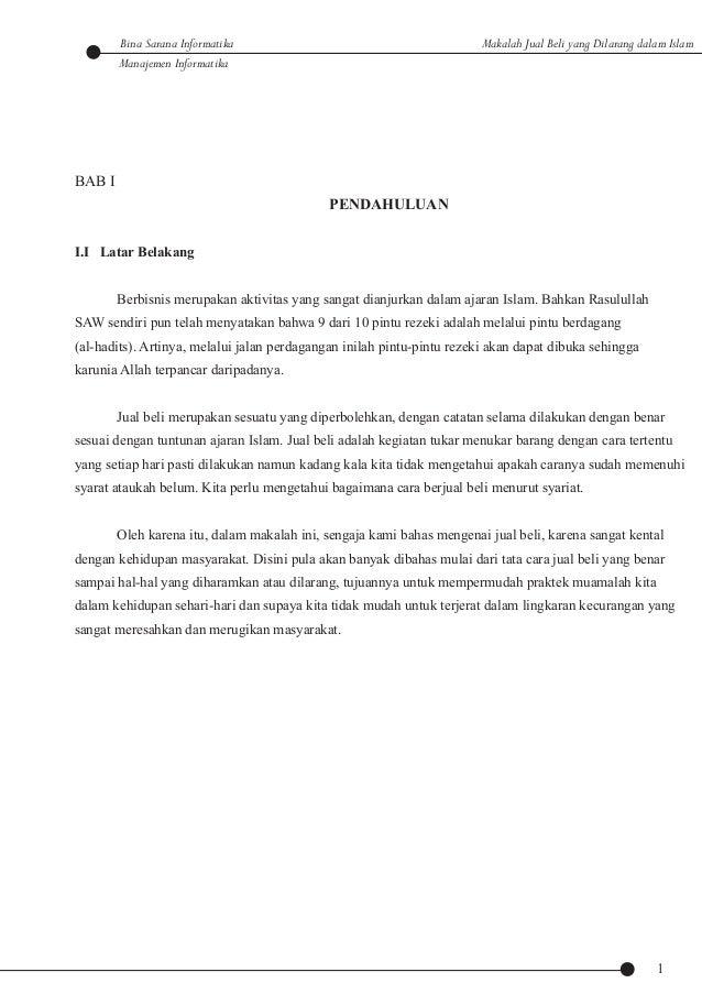 Makalah Jual Beli Yang Dilarang Dalam Islam