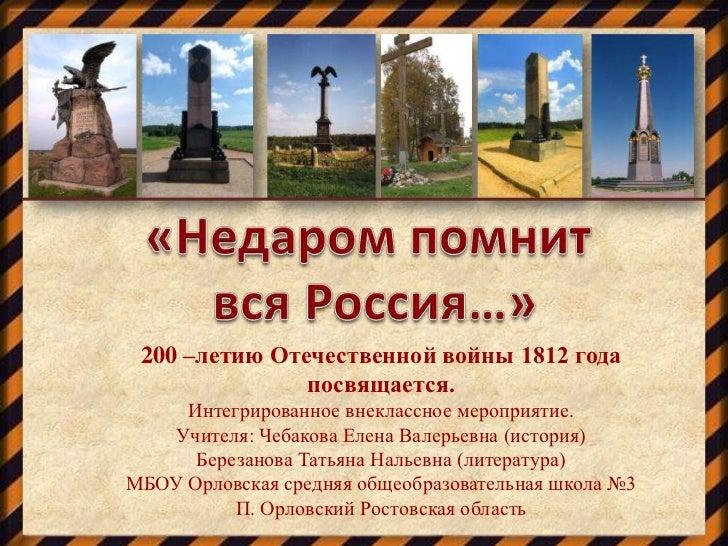 200 –летию Отечественной войны 1812 года               посвящается.     Интегрированное внеклассное мероприятие.   Учителя...
