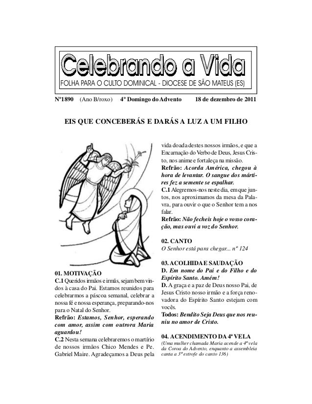 Nº1890    (Ano B/roxo)      4º Domingo do Advento           18 de dezembro de 2011    EIS QUE CONCEBERÁS E DARÁS A LUZ A U...