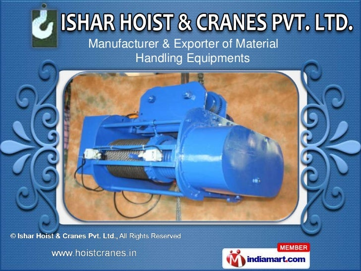 Manufacturer & Exporter of Material       Handling Equipments