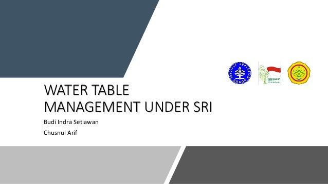 WATER TABLE MANAGEMENT UNDER SRI Budi Indra Setiawan Chusnul Arif