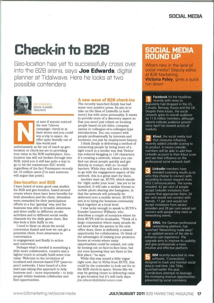 B2B Checkins 2011
