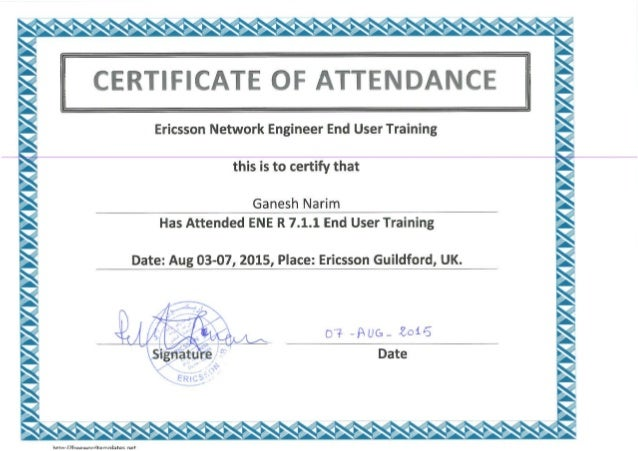 Training attendance certificate copy for Certificate of attendance seminar template