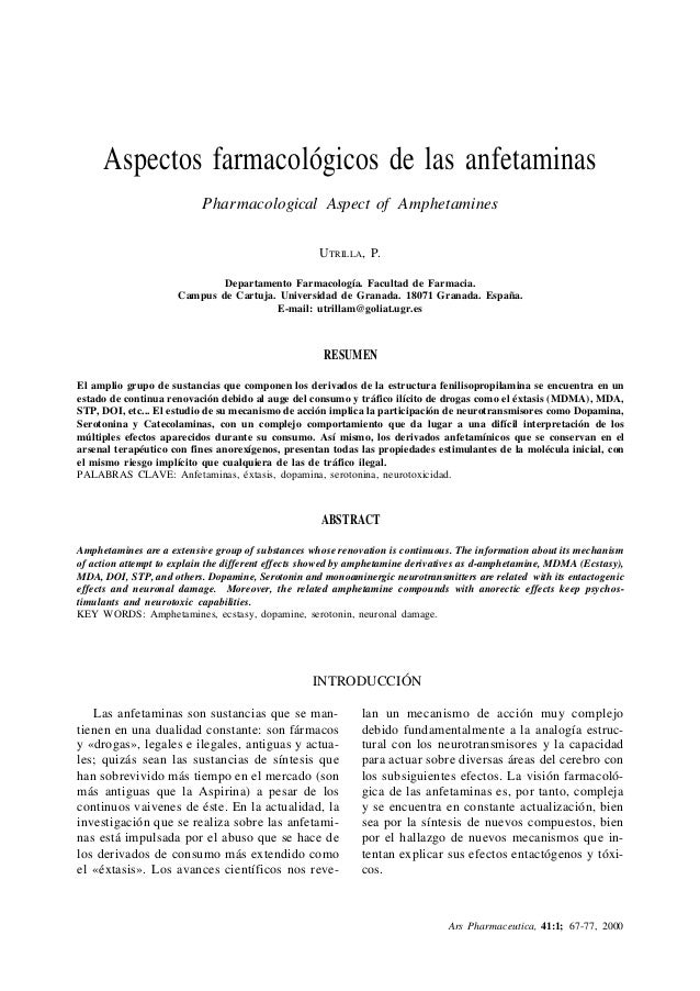 Ars Pharmaceutica, 41:1; 67-77, 2000 67ASPECTOS FARMACOLÓGICOS DE LAS ANFETAMINAS Aspectos farmacológicos de las anfetamin...