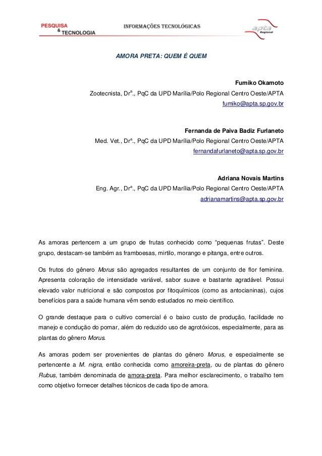AMORA PRETA: QUEM É QUEM Fumiko Okamoto Zootecnista, Dra ., PqC da UPD Marília/Polo Regional Centro Oeste/APTA fumiko@apta...
