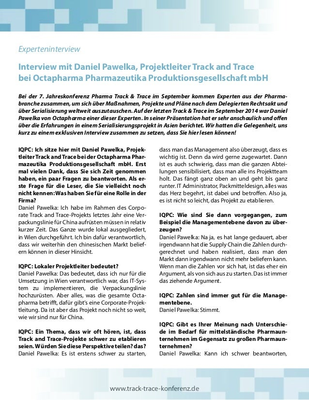 Interview mit Daniel Pawelka, Projektleiter Track and Trace bei Octapharma Pharmazeutika Produktionsgesellschaft mbH Bei d...