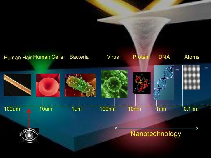 Human Hair Human Cells   Bacteria     Virus    Protein   DNA   Atoms100um        10um        1um        100nm     10nm    ...