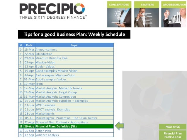 Tips for a good Business Plan: Weekly Schedule NEXT PAGE Financial Plan Profit & Loss # Date Topic 0 15-Mar Announcement 1...