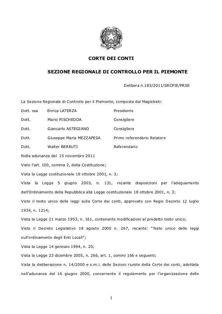 CORTE DEI CONTI               SEZIONE REGIONALE DI CONTROLLO PER IL PIEMONTE                                              ...