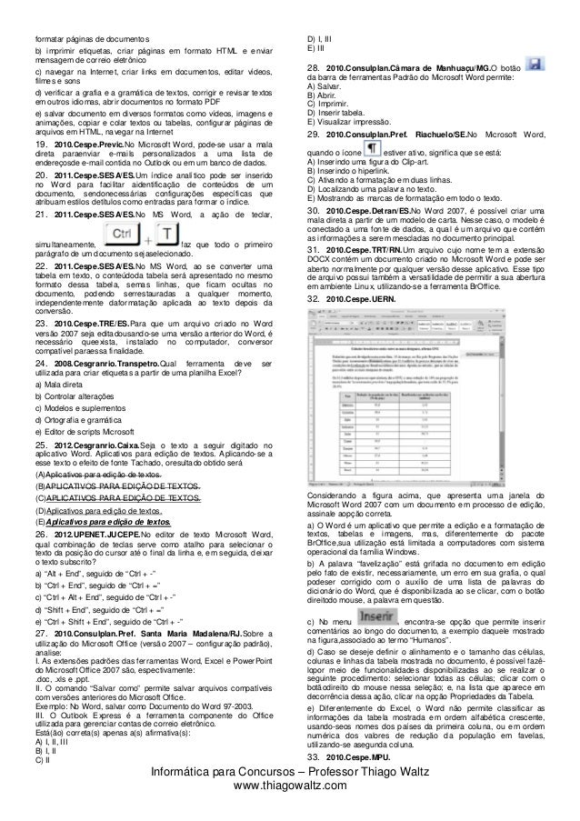 Novas Questões Microsoft Word-2007 Slide 2