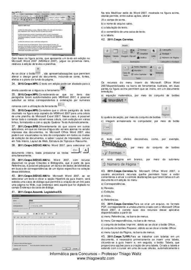 Novas Questões Microsoft Word-2007 Slide 3