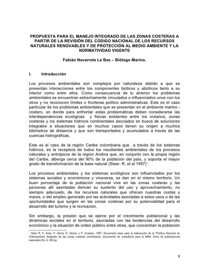 PROPUESTA PARA EL MANEJO INTEGRADO DE LAS ZONAS COSTERAS A      PARTIR DE LA REVISIÓN DEL CODIGO NACIONAL DE LOS RECURSOS ...