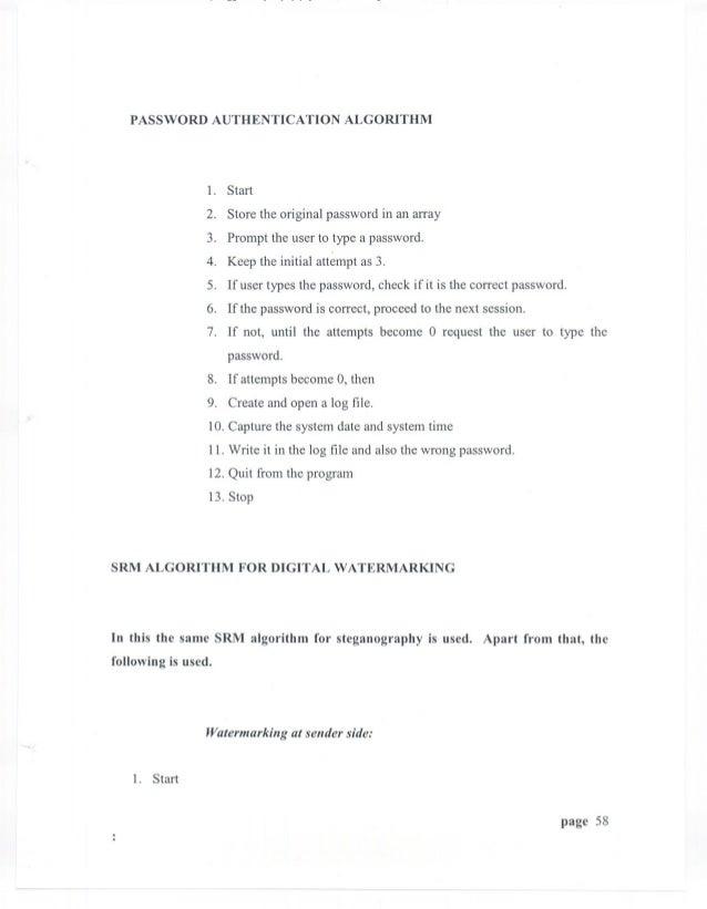 PASSWORD AUTHENTICATION ALGORITHM                 1. Start                 2. Store the original password in an array     ...