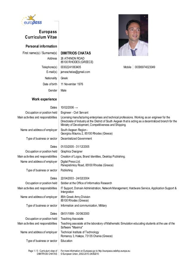 page 1 5 curriculum vitae of dimitrios chatas for more information on europass go - Europass Curriculum Vitae