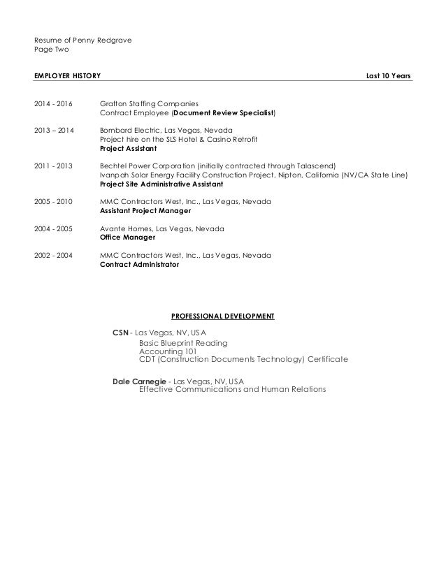 Resume of Penny Redgrave Page Two EMPLOYER HISTORY Last ...