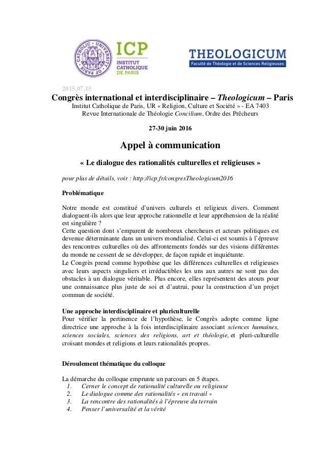 2015.07.15 Congrès international et interdisciplinaire – Theologicum – Paris Institut Catholique de Paris, UR « Religion, ...