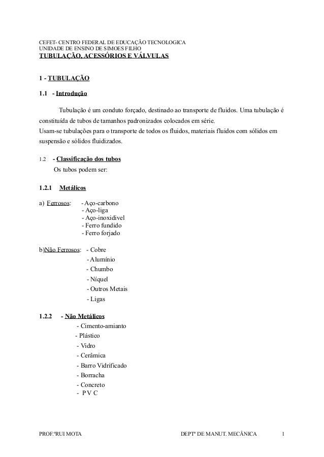 CEFET- CENTRO FEDERAL DE EDUCAÇÃO TECNOLOGICA UNIDADE DE ENSINO DE SIMOES FILHO TUBULAÇÃO, ACESSÓRIOS E VÁLVULAS 1 - TUBUL...