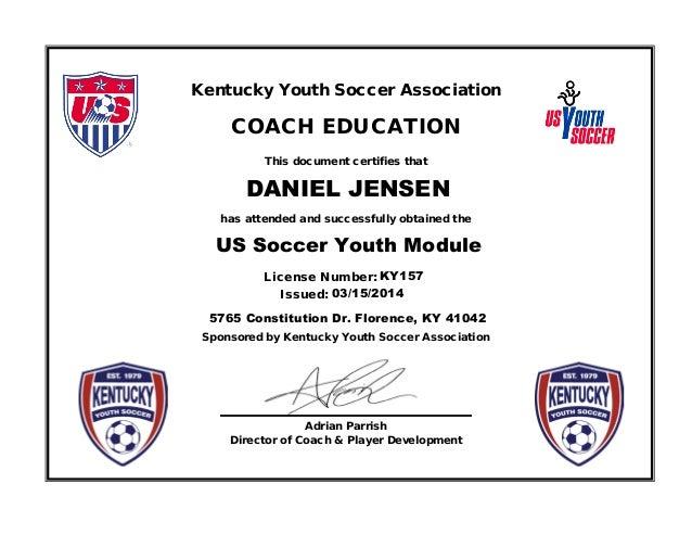 youth soccer certificates  KYSA Youth Module Coaching Certificate