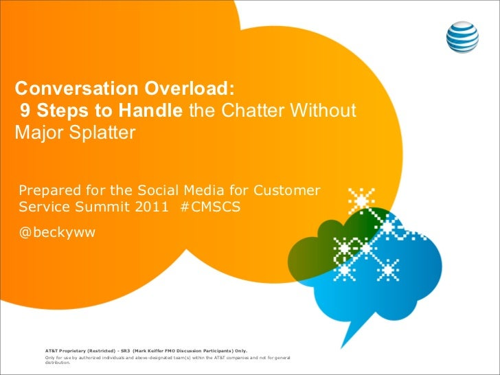 Conversation Overload:9 Steps to Handle the Chatter WithoutMajor SplatterPrepared for the Social Media for CustomerService...
