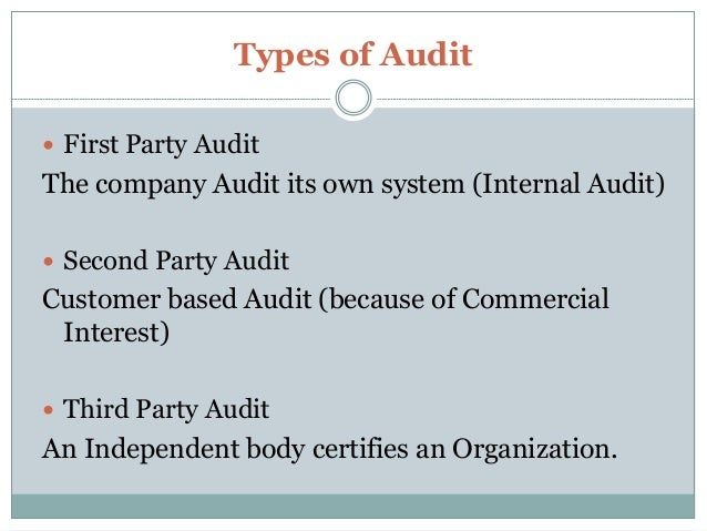 4 Types Of Audit First Party The
