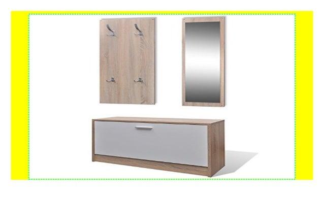 Vidaxl Garderoben Set Flur 3 In 1 Schuhschrank Spiegel Garderobenpan