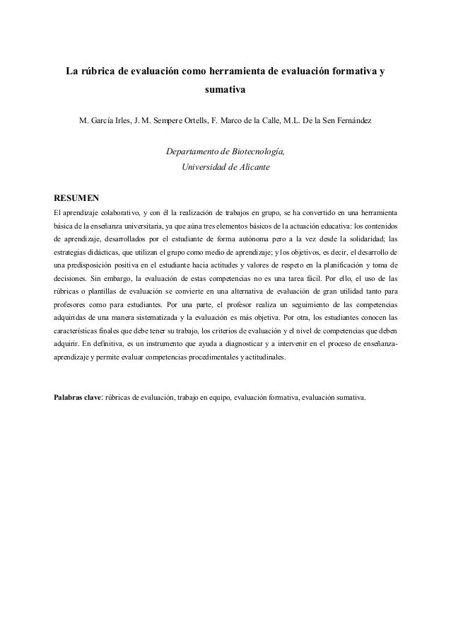 La rúbrica de evaluación como herramienta de evaluación formativa y sumativa M. García Irles, J. M. Sempere Ortells, F. Ma...