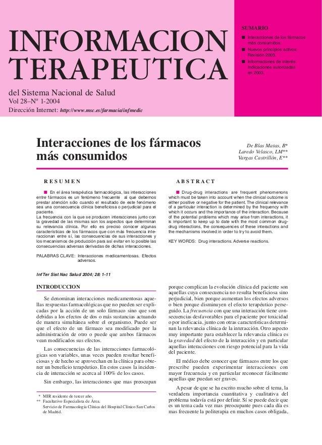 INFORMACION  TERAPEUTICA  del Sistema Nacional de Salud  Vol 28–Nº 1-2004  Dirección Internet: http://www.msc.es/farmacia/...