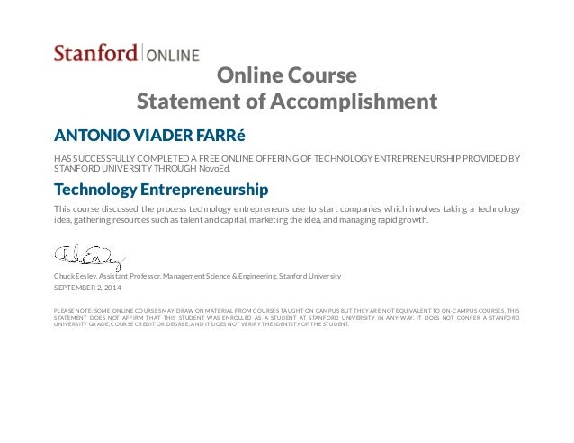 Online Course Statement of Accomplishment ANTONIO VIADER FARRé HAS SUCCESSFULLY COMPLETED A FREE ONLINE OFFERING OF TECHNO...