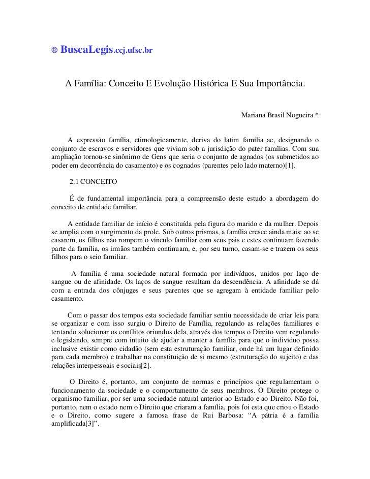 ®   BuscaLegis.ccj.ufsc.br     A Família: Conceito E Evolução Histórica E Sua Importância.                                ...
