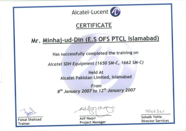 ALU SDH Certificate