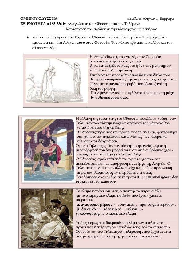 ΟΜΗΡΟΥ ΟΔΥΣΣΕΙΑ επιμέλεια: Αληγιάννη Βαρβάρα 22Η ΕΝΟΤΗΤΑ π 185-336 ► Αναγνώριση του Οδυσσέα από τον Τηλέμαχο Κατάστρωση το...